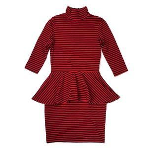Betsey Johnson Red & Black Striped Peplum Dress